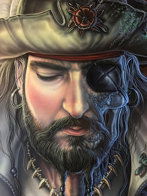 close of face of undead pirate Captain actual portrait