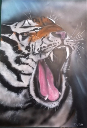 Tiger head on 600 x 700 mm prepared card