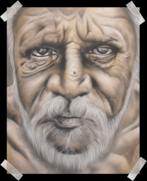 Old man-Focus of a step by step on wrinkles and such